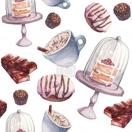 Watercolor coffee and sweets seamless pattern