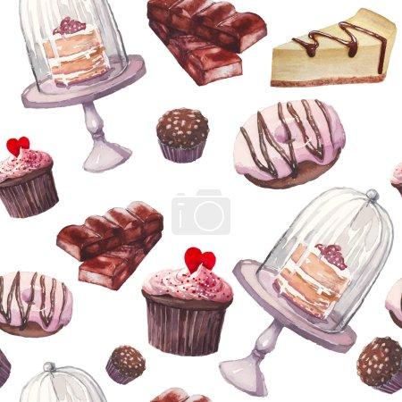 Illustration pour Modèle de bonbons aquarelle. Fond sans couture avec des objets alimentaires dessinés à la main : cupcakes, chocolat, gâteau rustique, délicieux beignet, bonbons aux noix, gâteau au fromage. vecteur mignon fond d'écran - image libre de droit