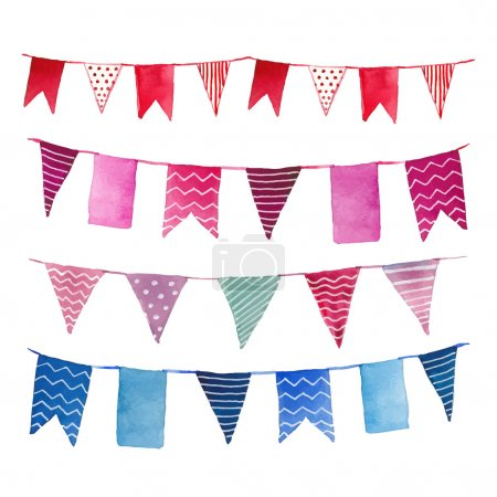 Watercolor vintage flags garlands set