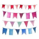 Watercolor vintage flags garlands set in vector. P...