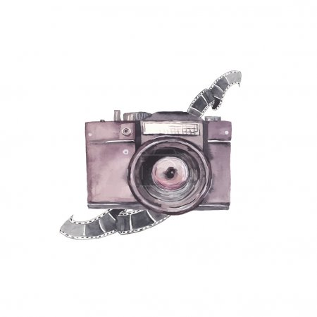 Illustration for Watercolor photo camera label. Hand drawn isolated illustration with camera body and photo film. Vector artistic object - Royalty Free Image