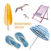 Watercolor beach vacation set