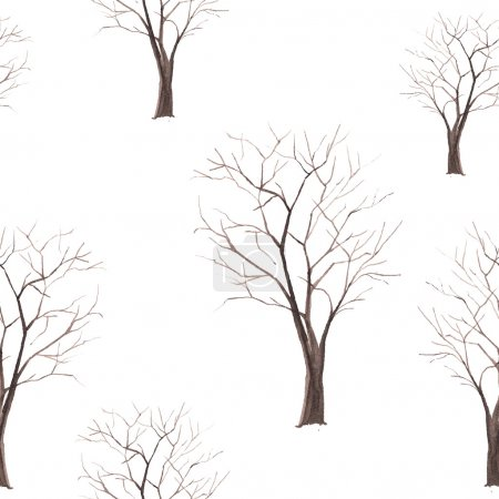 Illustration pour Arbre aquarelle motif sans couture. Arbre sans feuilles silhouette papier peint sur fond blanc. Texture vectorielle dessinée à la main - image libre de droit