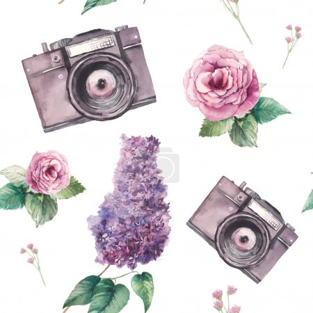 Illustration for Watercolor photo pattern with white background. Hand drawn seamless texture with photo camera and vintage artistic flowers: roses, lilac, leaves and branches. Vector wallpaper - Royalty Free Image