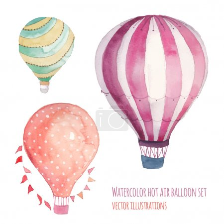 Watercolor hot air balloon set