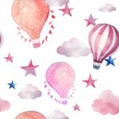 Watercolor seamless pattern with air balloons and clouds Hand drawn vintage collage illustration with hot air balloon flag garlands abstract pastel clouds and stars Vector wallpaper