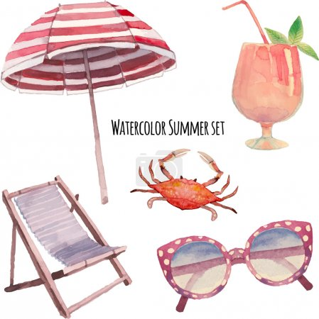 Watercolor beach vacation set.