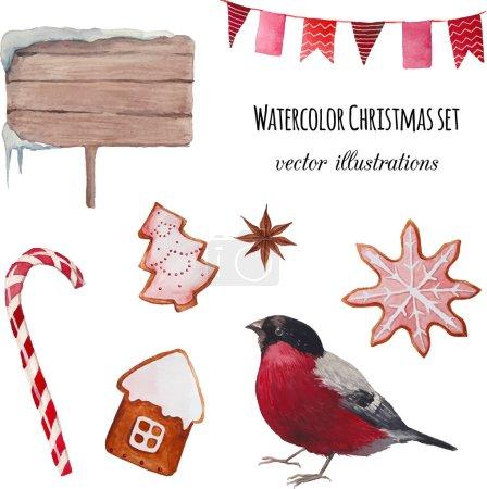 Watercolor Christmas set.