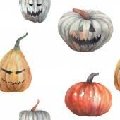 Watercolor Halloween pumpkins  seamless pattern