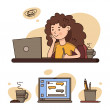 Working at home, coworking space, concept sticker....