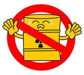 No road sign with cute sad cartoon toxic waste barrel concept vector illustration