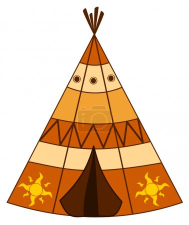 cartoon american indian teepee vector illustration