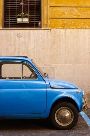 Blue retro car on the street