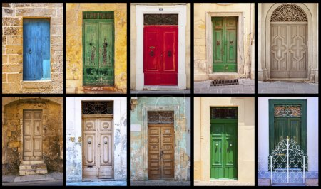 Photo for Collage of  colorful antique scratched maltese doors horizontal - Royalty Free Image