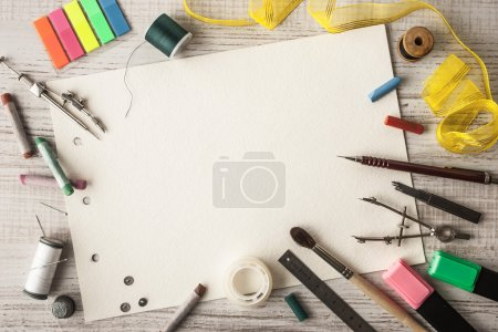 Photo for Frame of the objects for creativity on the table horizontal - Royalty Free Image