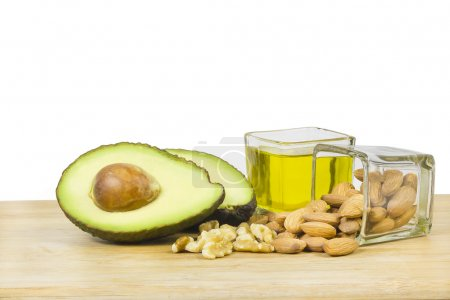 A bunch of ingredients representing good fats like...