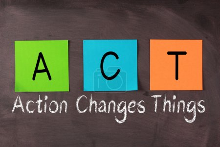 Photo for 'Action Changes Things' chalk text and ACT acronym notes on blackboard. - Royalty Free Image