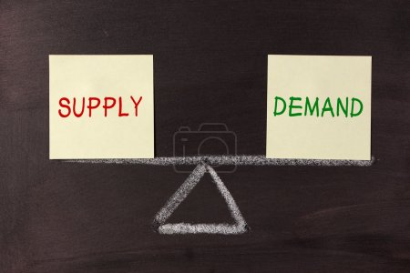 Photo for Supply and Demand Balance concept on blackboard. - Royalty Free Image