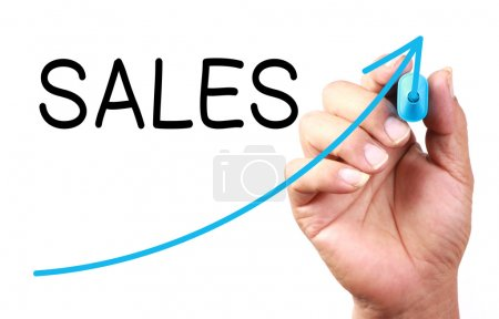 Photo for Growth Sales drawn on transparent whiteboard. - Royalty Free Image