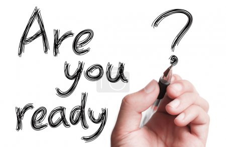 "Photo for Hand with pen is writing "" Are You Ready"" on transparent white board. - Royalty Free Image"