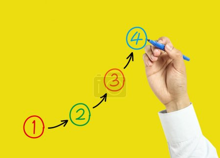 Photo for Businessman is drawing steps concept with marker on transparent board with yellow background. - Royalty Free Image