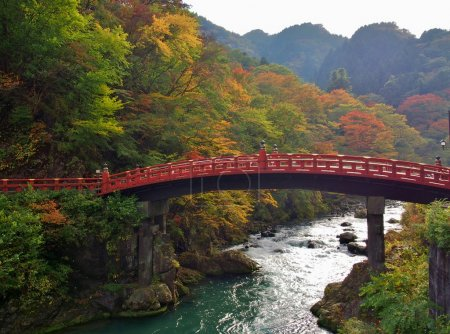 Shinkyo Bridge during Autumn in Nikko, Tochigi, Japan.