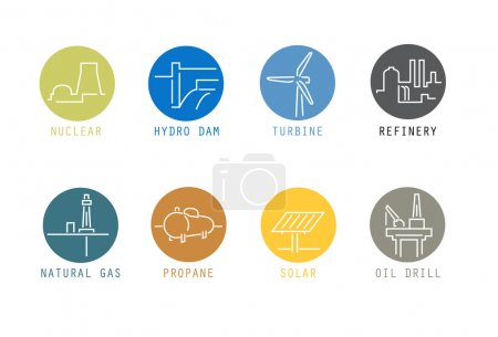 A set of modern icon graphics that shows some of t...
