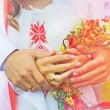 Постер, плакат: Happy couple holding each others hands Russian wedding wedding rings