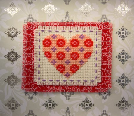 Heart, hand embroidery, exclusive Valentine on Val...