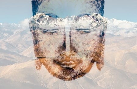 Double exposure, the Buddha and the mountains...