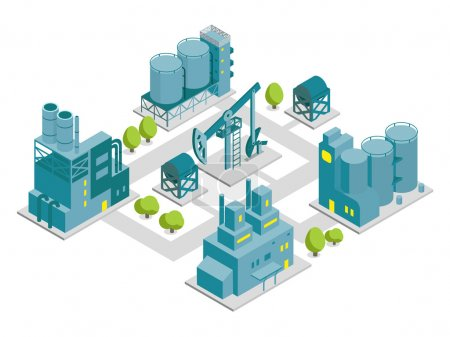 Illustration pour Ensemble d'illustration d'usine isométrique industrie du bâtiment de production d'huile - image libre de droit