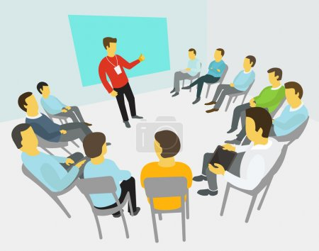 Illustration for Group of business people having a meeting around conference collaboration and discussion process conference presentation - Royalty Free Image