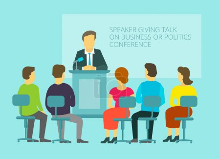 Business or policies message, giving speech, leadership on the podium