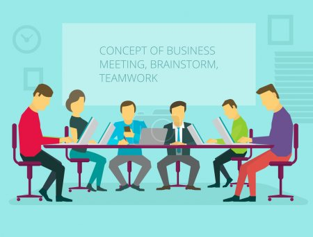 People team sitting and working together at the table. Teamwork, brainstorming, startup. Flat vector illustration.