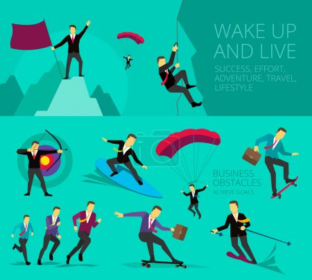 Vector illustration show Businessman successful life adventure activities