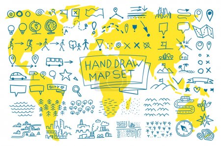 Illustration for Hand draw map set elements. Vector picture outline - Royalty Free Image