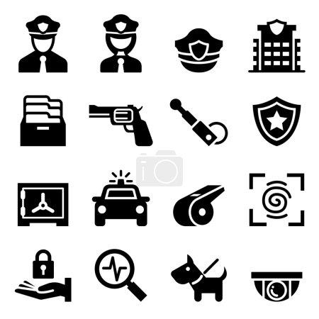 Illustration pour Icône Police & Gardien - image libre de droit