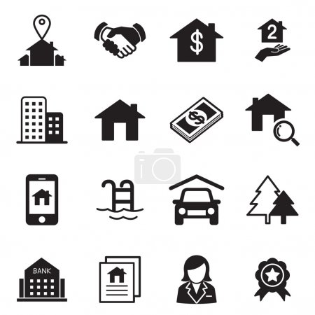 Illustration for Real estate icons Vector illustration symbol set - Royalty Free Image