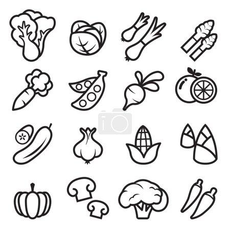 Vegetable icons set vector illustration