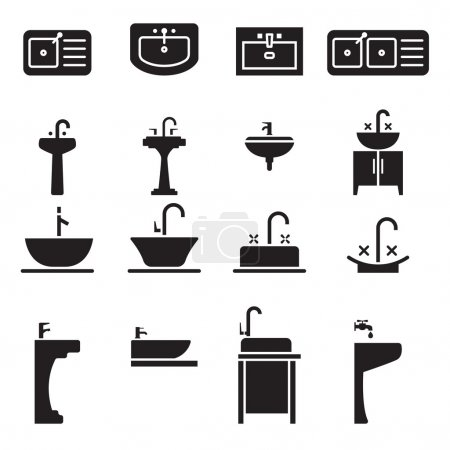Sink icons set vector illustration