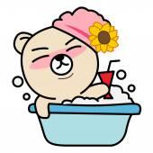 Cartoon bear take a bath