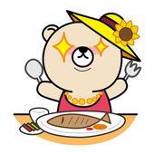 Cartoon bear prepare for eating