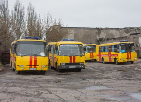 Donetsk, Ukraine - April, 11, 2014: Buses rescuers at the mine n