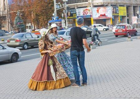 UKRAINE, KIEV - September 11,2013: Girls in historical costumes