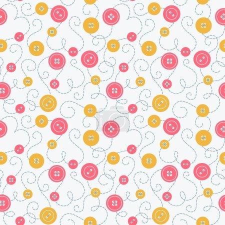 Illustration pour Motif sans couture avec boutons colorés et broderie . - image libre de droit