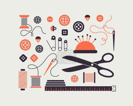Photo pour Ensemble d'icônes de couture vectorielles stylisées et d'aiguilles . - image libre de droit