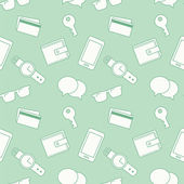 Seamless pattern with everyday objects: sunglasses key phone wallet credit cards watches and speech bubbles