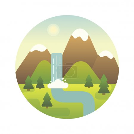 Photo pour Illustration de paysage. Rivière de montagne et cascade. Icône design plat . - image libre de droit