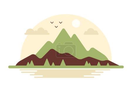 Photo pour Paysage montagneux avec oiseaux et nuages. Illustration vectorielle . - image libre de droit