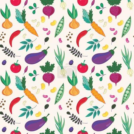 Photo pour Légumes assortis sur fond blanc motif sans couture . - image libre de droit